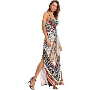Geometrical Print Sleeveless Maxi Side Slit Dress